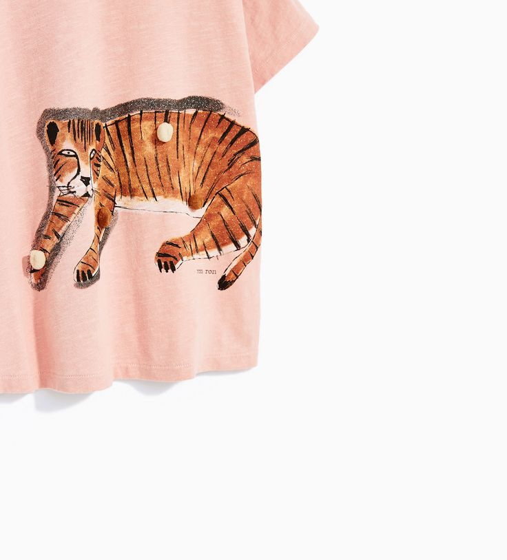 ANIMAL PRINT T-SHIRT WITH POMPOMS AND FRINGING