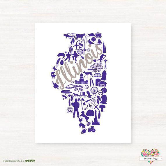 Evanston Illinois Landmark State Giclee Map Art Print 8x10 Graduation Gift Idea Dorm Decor