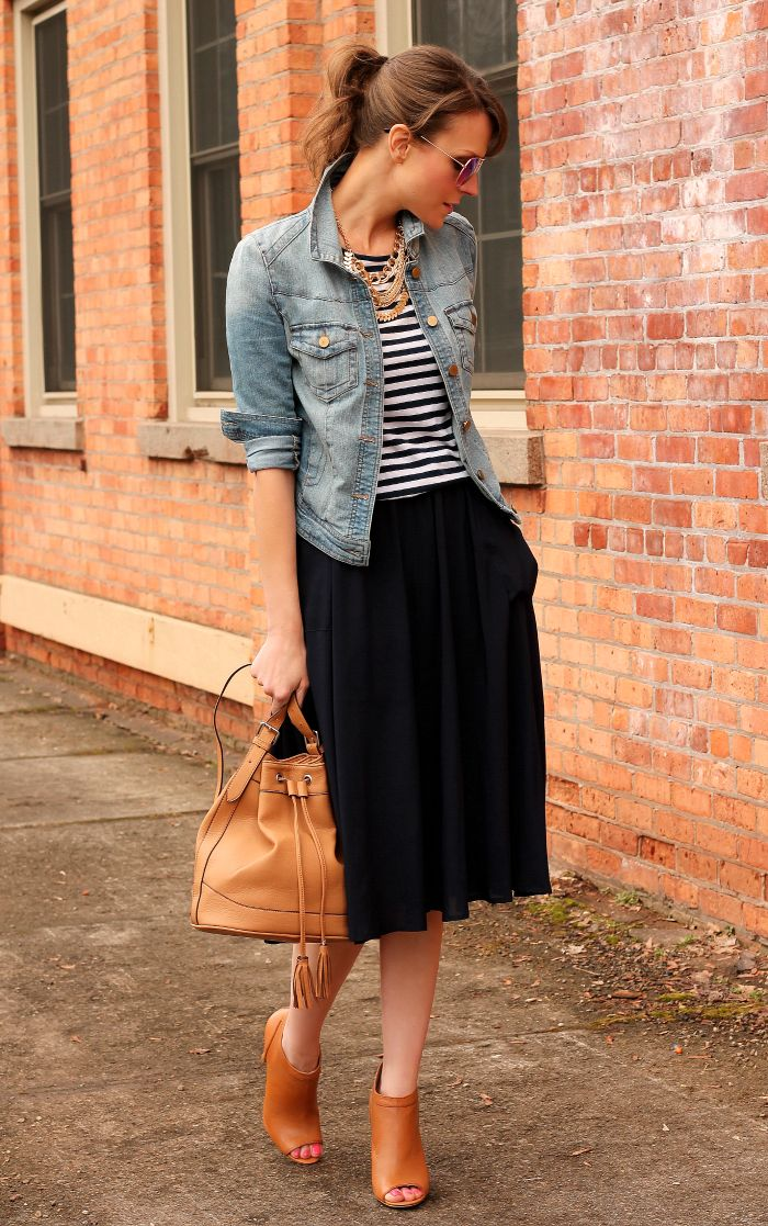 MIDI skirt, striped tee, denim jacket, and peep-toe booties.