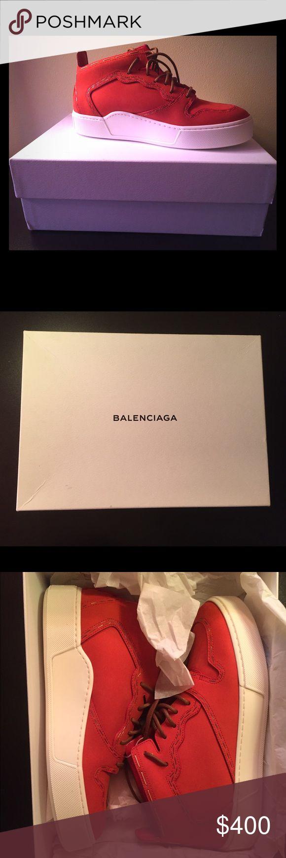 Balenciaga shoes!! Balenciaga Bright Red Sneakers. Never worn (too big for me) with original packaging, including care bag. Balenciaga Shoes Sneakers
