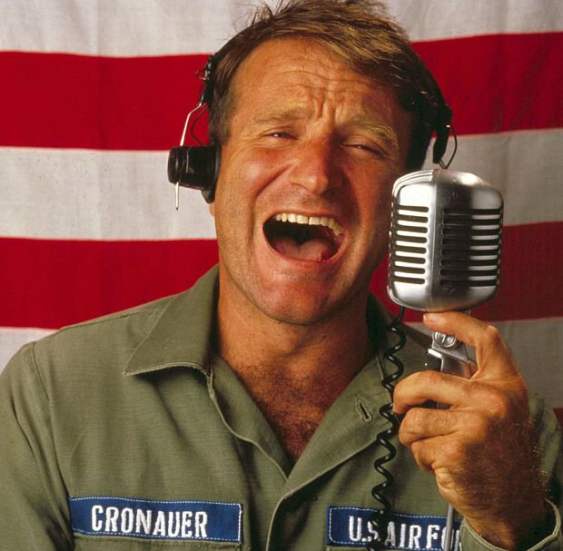 'You're only given a little spark of madness, you mustn't lose it'    Robin Williams was nominated for an Academy Award for best actor in a leading    role for the 1987 film Good Morning, Vietnam, in which he played  Airman    Second Class Adrian Cronauer, a radio DJ.