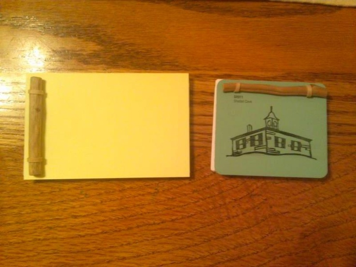 Examples of the many letterboxing logbooks I made from paintchips, driftwood, index cards, and rubber bands.