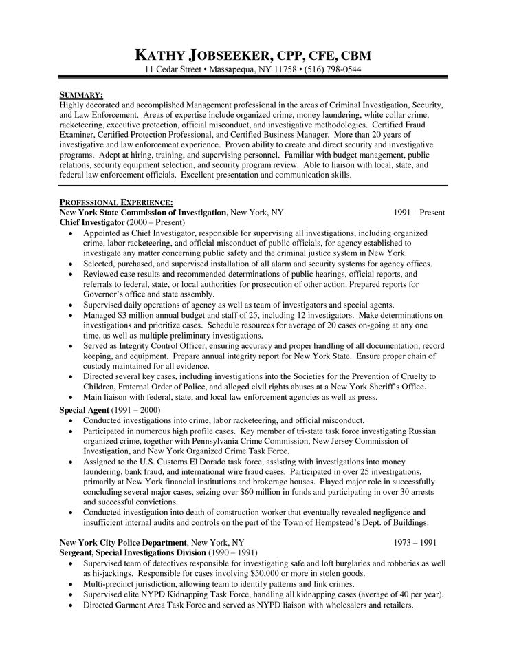 Best 25+ Police officer resume ideas on Pinterest Police officer - chief of police resume