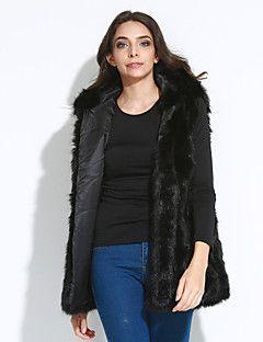 Kadın Kalın Suni Kürk Kolsuz Kapşonlu,Pembe / Siyah / Kahverengi / Gri Sonbahar / Kış Solid Sokak Şıklığı Büyük Beden-Kadın Kürk Mont