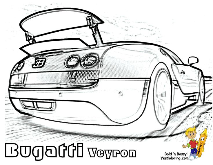 Free Super Car Printables Bugatti Veyron 16.4 (Spoiler) At YesColoring  http://www.yescoloring.com/super-fast-cars-coloring.html