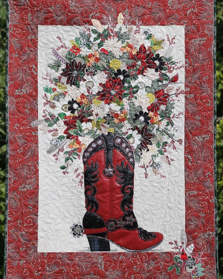"""Pattern: """"Boot Cut Blooms""""-- Country Christmas version by Leslie McNeil. Pattern available at http://MarveLesARtStudios.com and http://Marveles.etsy.com"""