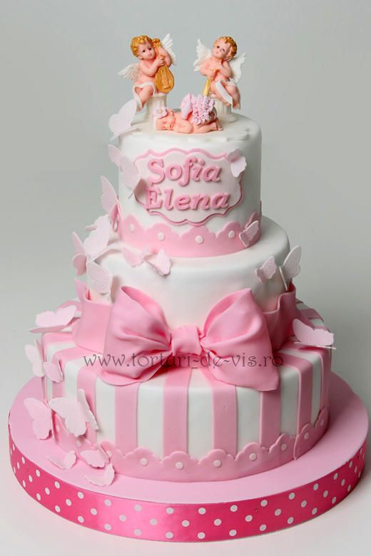 Christening cake with angels