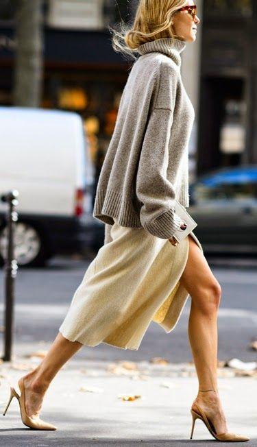 Cream Split Cashmere Maxi Dress