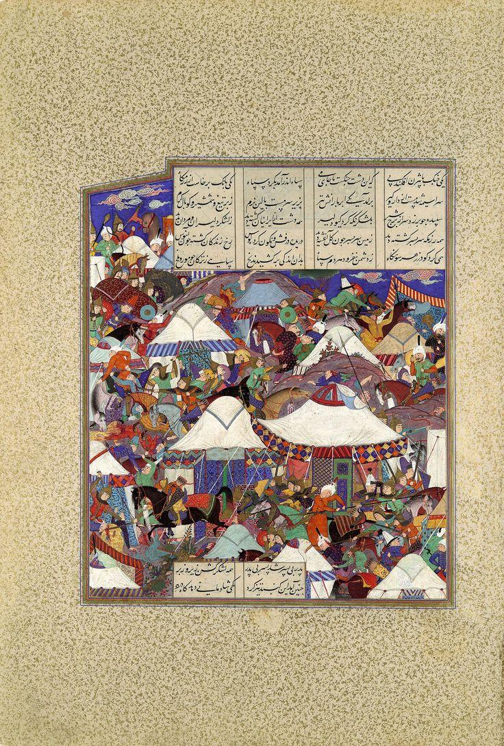 """برگی از شاهنامه شاه تهماسب: شبيخون كردن پيران بر ايرانيان ، منسوب به قدیمی گیلانی، دوره صفوی، در حدود 1540، تبریز پدر بی پسر بد پسر بی پدر همه لشکر گشن زیر و زبر چنين آمد اين گنبد تيز گرد گهى شادمانى دهد گاه درد The Besotted Iranian Camp Attacked by Night"""", Folio from the Shahnama (Book of Kings) of Shah Tahmasp Abu'l Qasim Firdausi (935–1020) Artist: Painting attributed to Qadimi (active ca. 1525–65) Workshop director: Aqa Mirak (active ca. 1525–60) Object Name: Folio from an illustrated…"""