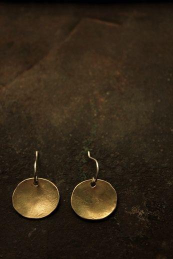 Brass Oval Plate Earrings - S -   IRRE