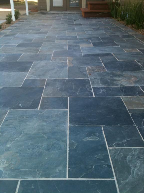 slate patioashlar random pattern indian slate staggered - Patio Tiles Ideas