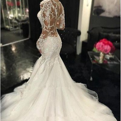 Sexy Ivory Mermaid Sweetheart Bridal Gown Wedding Dresses Lace Appliques Custom from Ulass