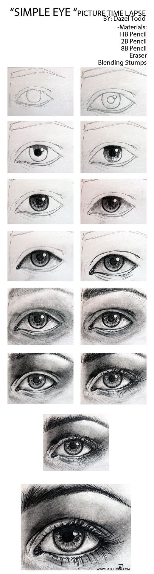 Dazel Todd Sketch of eye tutorial, drawing tips.