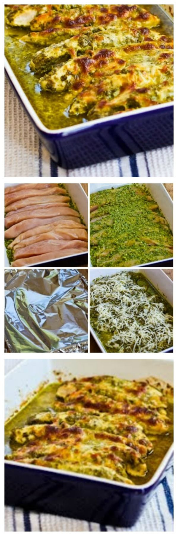 Baked Pesto Chicken is one of the most popular recipes on my blog, and this recipe is Low-Carb, Gluten-Free, and South Beach Phase One.  And this has been pinned 421K times, so the recipe has a lot of fans.  [from KalynsKitchen] #LowCarb #GlutenFree