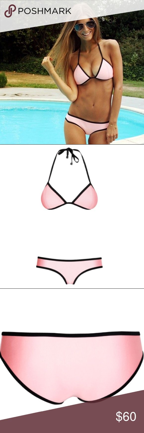Triangl Chloe Neoprene Bikini in California Coral Triangle Neoprene bikini in pastel pink. Fixed triangle top. Adjustable back and neck ties. Hipster boyleg bottom. Medium coverage. Fully lined, will not go transparent when wet. Worn once - in great condition! Top Size: Large; Bottom Size: Medium. triangl swimwear Swim Bikinis