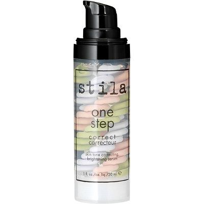 Stila One Step Correct Triple Swirl Helix Primer. This primer, color corrector, brightener and anti-aging skincare serum does it all with the help of Stila's Youth Revival Bio-Available Mineral Complex