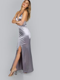 Online shopping for Satin Fit n Flow Maxi Dress SILVER from a great selection of women's fashion clothing & more at MakeMeChic.COM.