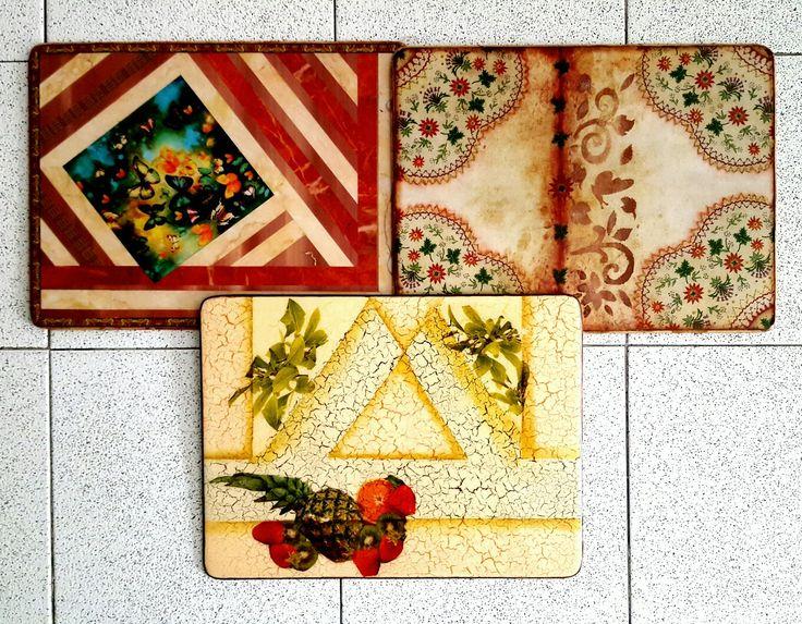 individuales en texturas mixtas Decoupage y servilleta