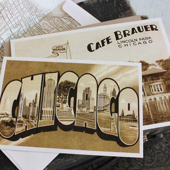 vintage travel postcard wedding invitation chicago by beyonddesign 4500 - Wedding Invitation Postcards