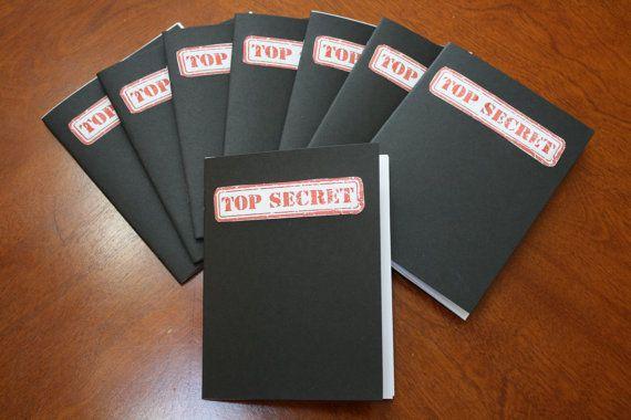 Lot of 10 TOP SECRET Spy Notebook's  Spy Party by FiveMooreCrafts
