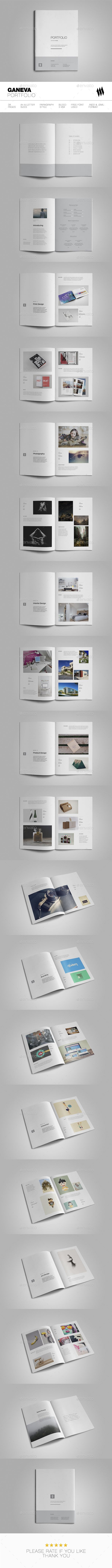 Geneva Portfolio Brochure Tempalte InDesign INDD - 38 Pages, A4 & Letter sizes