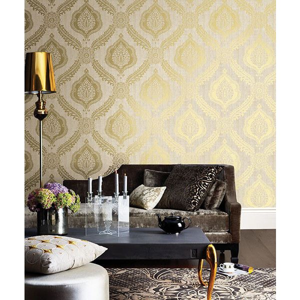 Zoraya Gold Damask Wallpaper From The Alhambra Collection By Brewster...  ($108) Part 25