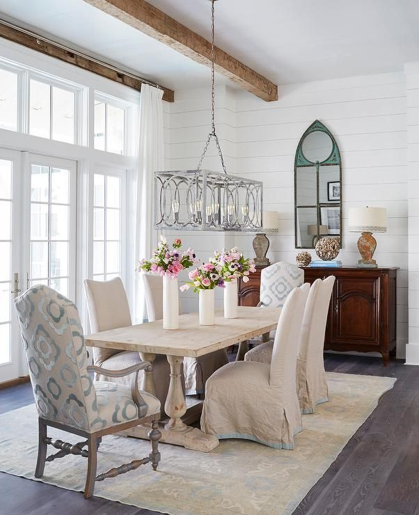 Beautiful Cottage Dining Room Features A Blond Wood French Dining