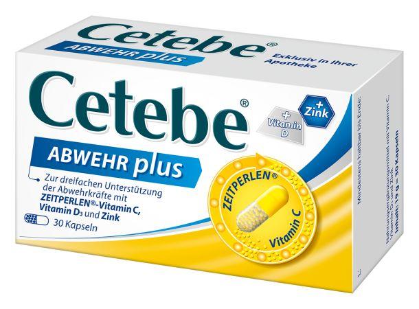 Das neue Cetebe® ABWEHR plus unterscheidet sich von der bisherigen Formulierung dadurch, dass der Gehalt an enthaltenem Zink von 5 mg auf 10 mg erhöht, sowie Vitamin D mit einem Gehalt von 10 μg hinzugefügt wurde. Durch die Erhöhung des Zinkgehalts kann nun der empfohlene Tagesbedarf an Vitamin C, Vitamin D und Zink (gemäß EU-Lebensmittelinformationsverordnung) mit einer Kapsel Cetebe® ABWEHR plus am Tag gedeckt werden.