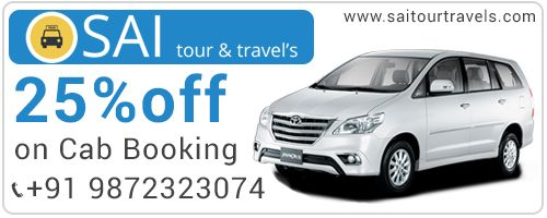 Great Deal. Get 25% discount at Sai Tour & Travels. #Chandigarh #Mohali #Panchkula #Taxiservice #Touroperator