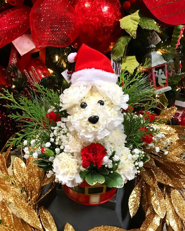 It's almost #Christmas! #SantaPaws is really getting into the #ChristmasSpirit! #adogable #christmastree #flowers #merryandbright