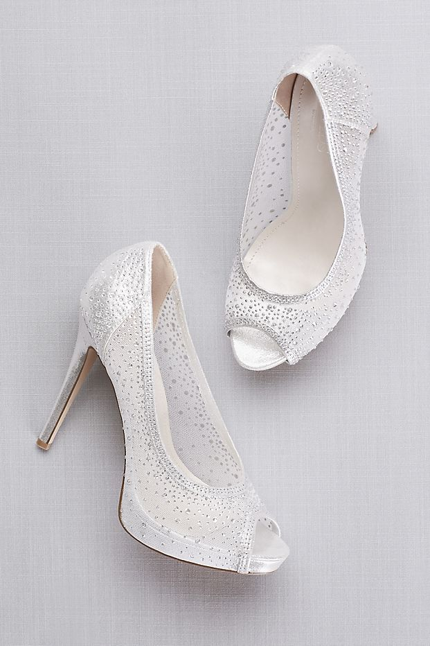 Sheer Mesh Peep Toe Platform Heels With Crystals David S Bridal Sparkly Wedding Shoes Wedding Shoes Platform Wedding Shoes Bridesmaid