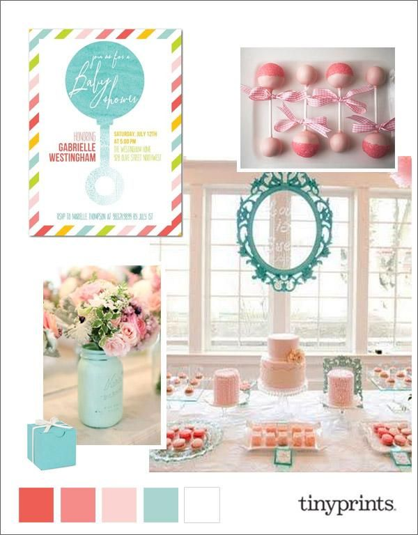 Find Inspiration For Your Baby Shower With This Pink And Teal Baby Shower  Theme, Inspired By Our Chic Tiny Prints Watercolor Rattle Invitation.