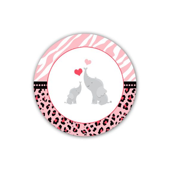 INSTANT DOWNLOAD Pink Jungle Tags Elephant Baby Shower Thank You Tag Labels - Zebra Leopard Baby Shower Tags Baby Shower Favors Party Favors