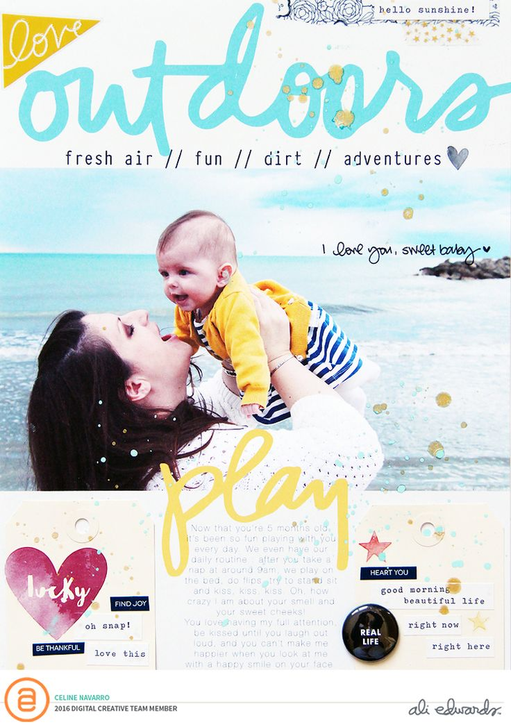 How goooood I felt when I scrapbooked these two layouts! Life has been tough when it comes to getting organized : Salomé is one happy baby but she needs a lot of attention...and I'm really happy to give it to her :) This month, I created these two layouts for Ali Edwards Creative Team. See, I managed not to make a baby layout! :D For this layout, I used one of these journaling cards and turned it into a 8,5x11 inch background, added my photo on Photoshop, added one of these digital st...