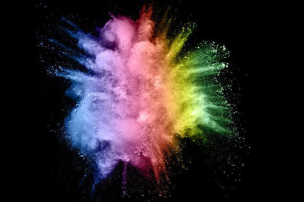 Explosion De Poudre De Couleur Multi Sur Fond Noir Poudre De Couleur Fond Noir Image Coloree
