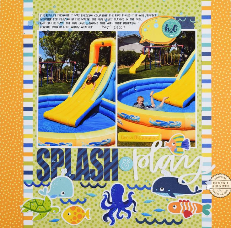 Splash & Play layout by Becki Adams for Stamp & Scrapbook Expo