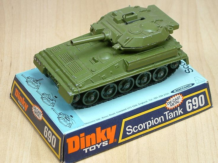 Dinky Toy Scorpion Tank. Featured rotating turret and gun firing small plastic shells. This diecast model was made between 1972 and 1977.