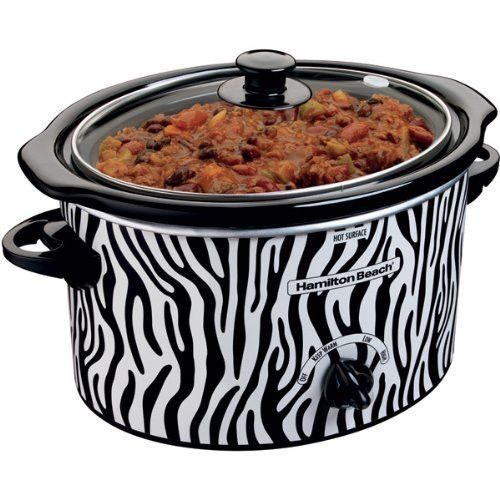 Zebra Print Hamilton Beach Slow Cooker, 3-Quart