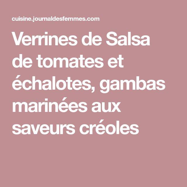 Verrines de Salsa de tomates et échalotes, gambas marinées aux saveurs créoles