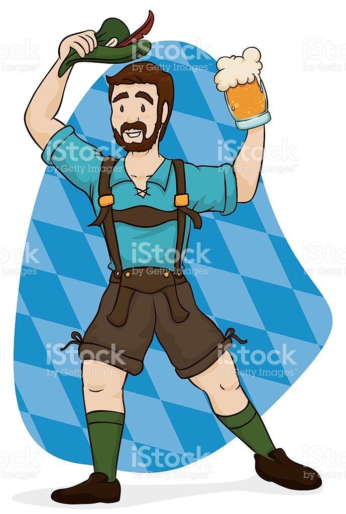 Bavarian Man with Lederhosen Clothes Celebrating Oktoberfest