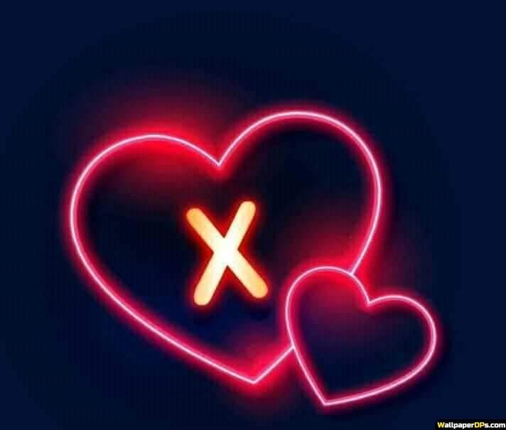 X Name Dp Pics For Whatapp N Facebook With Neon Light Heart Black