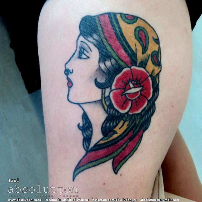 traditional gypsy lady tattoo by our apprentice lani at absolution in christchurch, nz