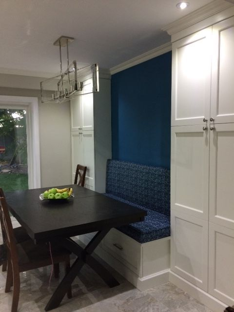 Custom bench seat and back for this dining room - isn't it beautiful.