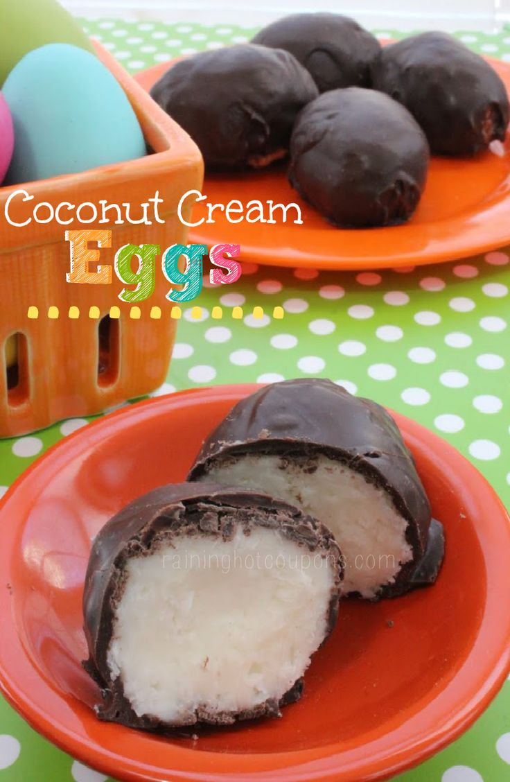coconut cream eggs.png Chocolate Dipped Coconut Cream Eggs. Yum! Add a couple almonds though for an almond joy!