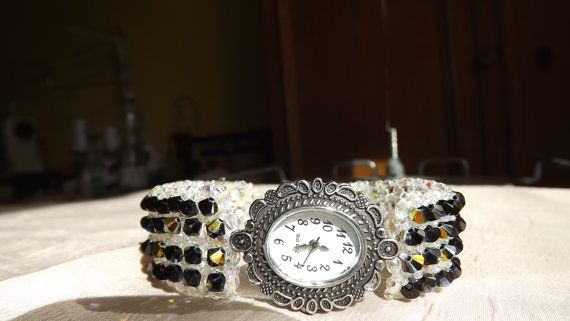 FREE SHIPPING Black& white  bead wrist watchstrap by Mamyblue, $90.00