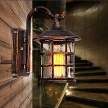 Outdoor Wandlamp Tuin Balkon Lamp Amerikaanse Retro Regen Wandlamp Europese Gangpad Slaapkamer Outdoor Waterdicht Wandlampen(China)