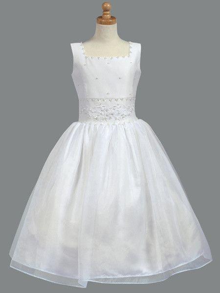 Tea Length Beaded Satin Communion Dress LT-SP965