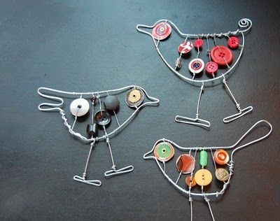 wire art for kids | Art Activities for Kids / Wire button birds