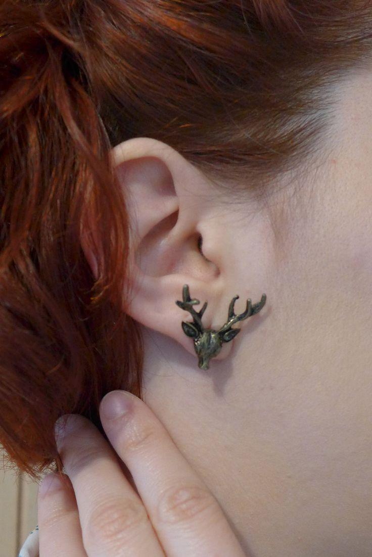 boucle d'oreilles original tête de cerf