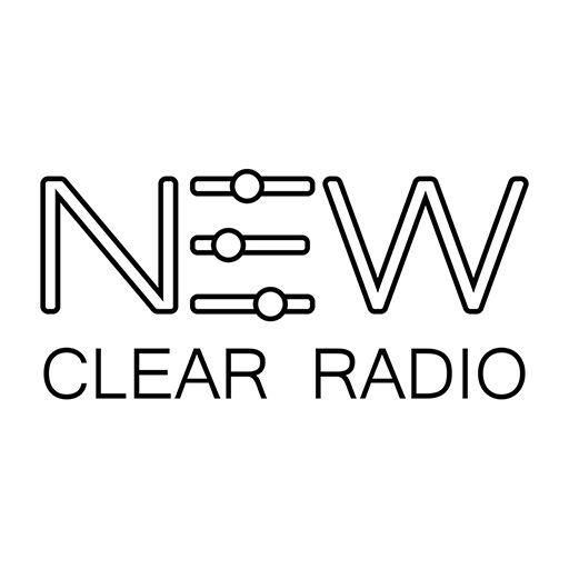 Our logo. WHITE. Listen on http://newclearradio.net/